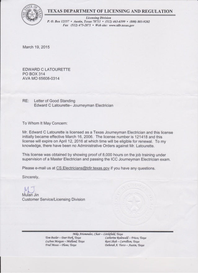 tdlr electrical license and experience letter