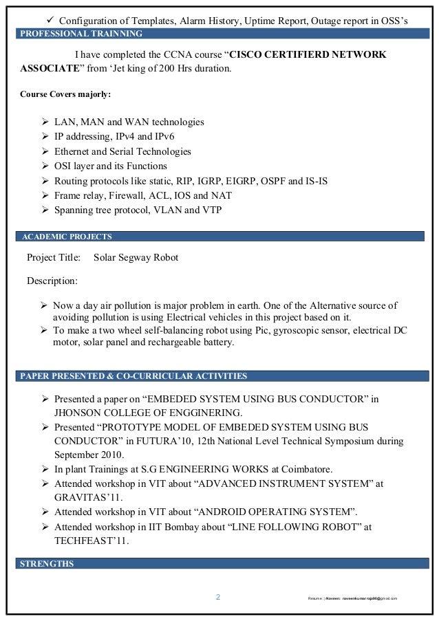 Oss engineer resume