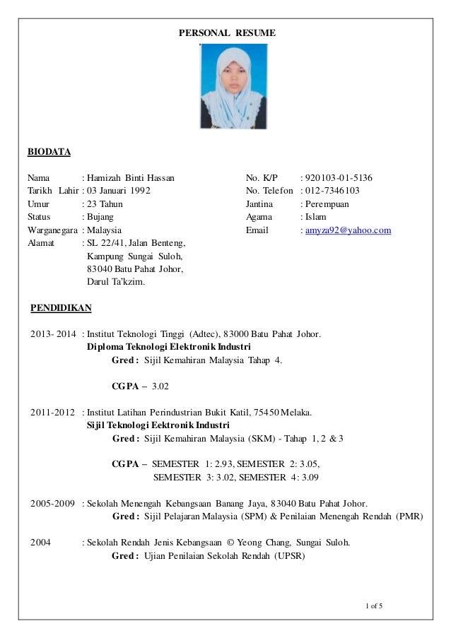 Contoh Resume Kerja Kilang Resume For You