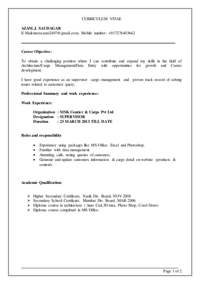 page 1 of 2 curriculum vitae azamj saudagar e mailmeerazam2407