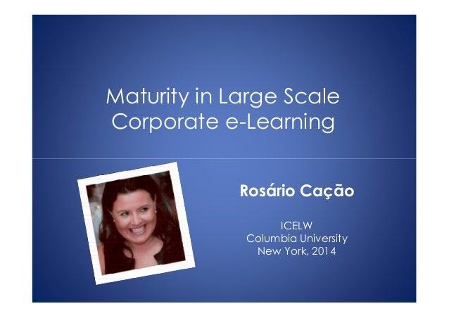 Maturity in Large Scale Corporate e-Learning Rosário Cação ICELW Columbia University New York, 2014
