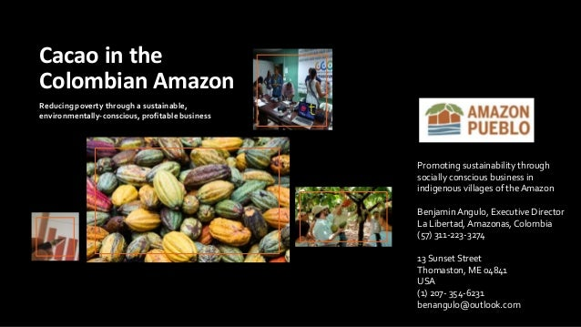 Reducing poverty through a sustainable, environmentally-conscious, profitable business Cacao in the Colombian Amazon Promo...