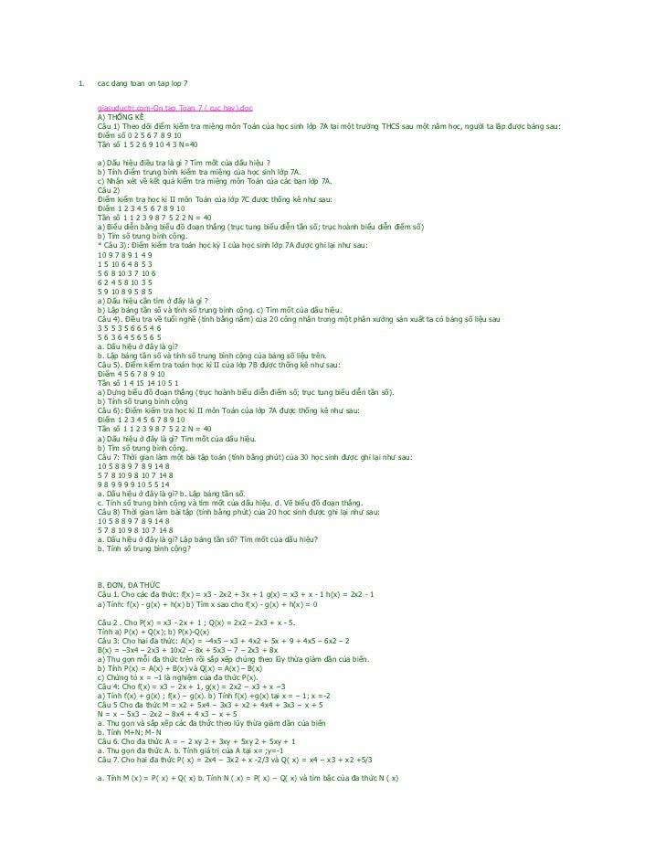 1.   cac dang toan on tap lop 7     giasuductri.com-On tap Toan 7 ( cuc hay).doc     A) THỐNG KÊ     Câu 1) Theo dõi điểm ...