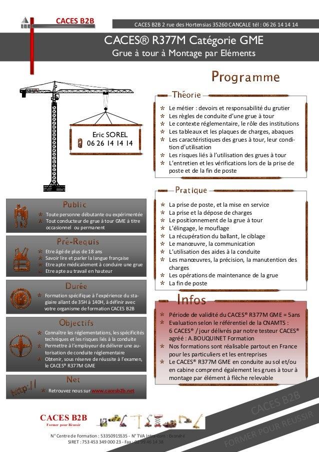 Période de validité du CACES® R377M GME = 5ans Evaluation selon le référentiel de la CNAMTS : 6 CACES® / jour délivrés par...