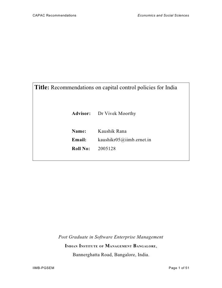 CAPAC Recommendations                            Economics and Social Sciences     Title: Recommendations on capital contr...