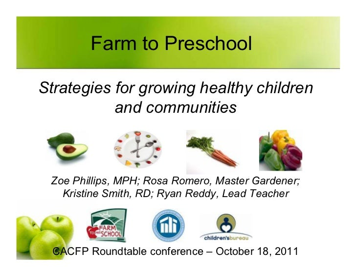 Farm to PreschoolStrategies for growing healthy children           and communities Zoe Phillips, MPH; Rosa Romero, Master ...