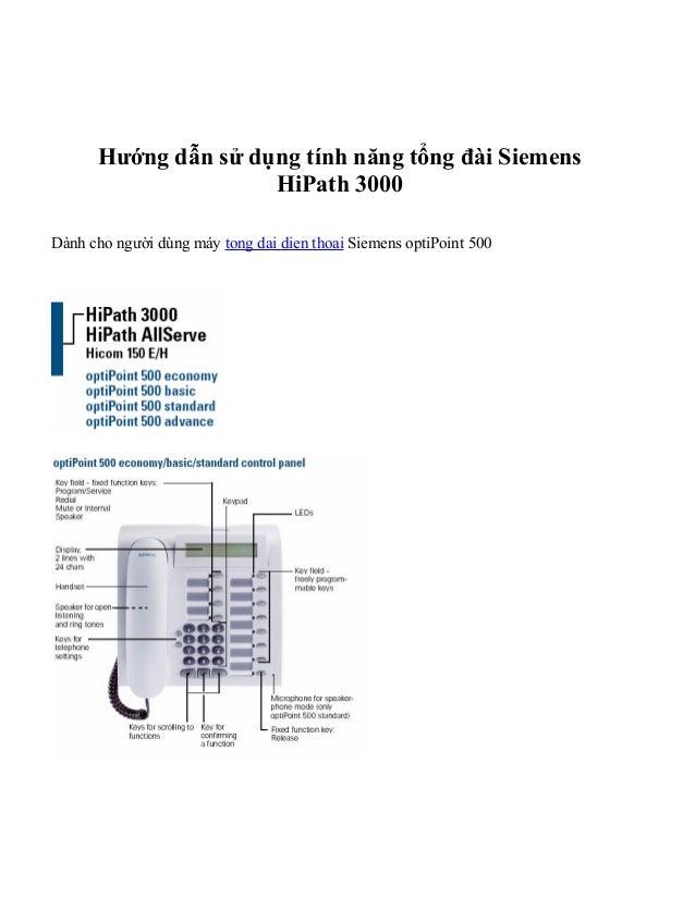 Hướng dẫn sử dụng tính năng tổng đài Siemens                     HiPath 3000Dành cho người dùng máy tong dai dien thoai Si...