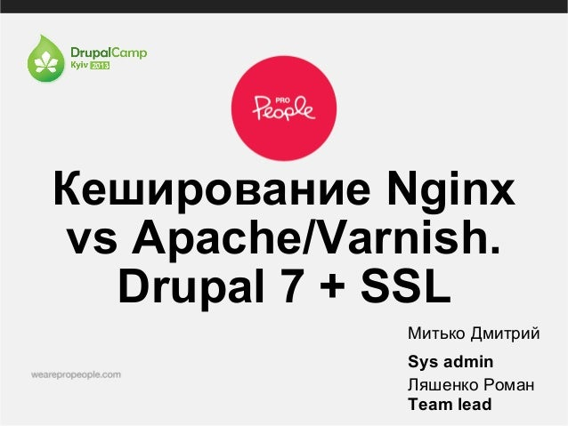 Кеширование Nginxvs Apache/Varnish.Drupal 7 + SSLМитько ДмитрийSys adminЛяшенко РоманTeam lead