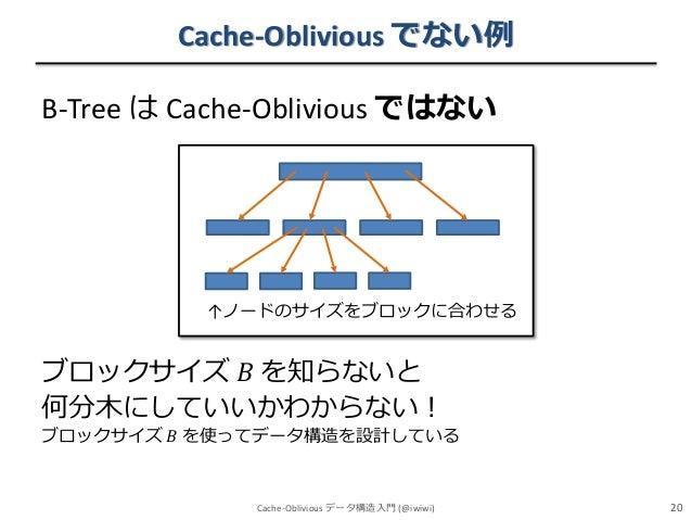 Cache-Oblivious でない例 B-Tree は Cache-Oblivious ではない  ↑ノードのサイズをブロックに合わせる  ブロックサイズ 𝐵 を知らないと 何分木にしていいかわからない! ブロックサイズ 𝐵 を使ってデータ...
