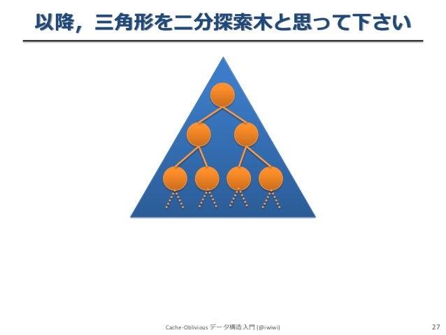 以降,三角形を二分探索木と思って下さい  Cache-Oblivious データ構造入門 (@iwiwi)  27