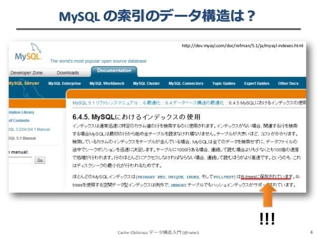 MySQL の索引のデータ構造は? http://dev.mysql.com/doc/refman/5.1/ja/mysql-indexes.html  Cache-Oblivious データ構造入門 (@iwiwi)  !!! 4
