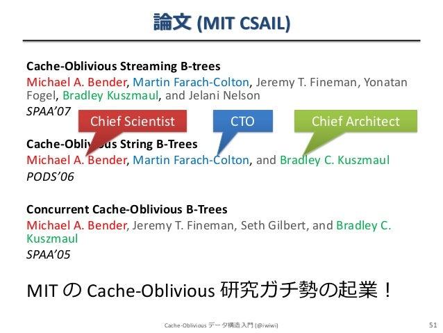 論文 (MIT CSAIL) Cache-Oblivious Streaming B-trees Michael A. Bender, Martin Farach-Colton, Jeremy T. Fineman, Yonatan Fogel...