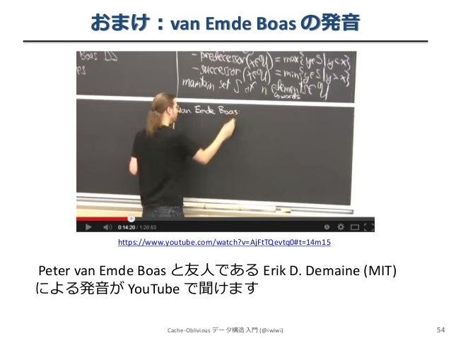 おまけ:van Emde Boas の発音  https://www.youtube.com/watch?v=AjFtTQevtq0#t=14m15  Peter van Emde Boas と友人である Erik D. Demaine (MI...