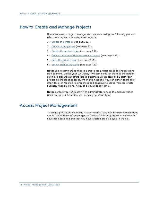 Ca Clarity PPM Project Management User Guide