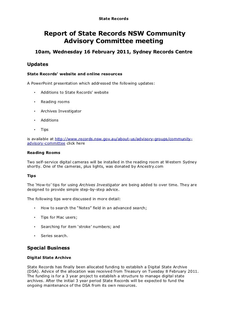 State Records        Report of State Records NSW Community             Advisory Committee meeting    10am, Wednesday 16 Fe...