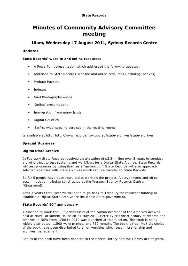 Community Advisory Committee Meeting Report  17 August 2011