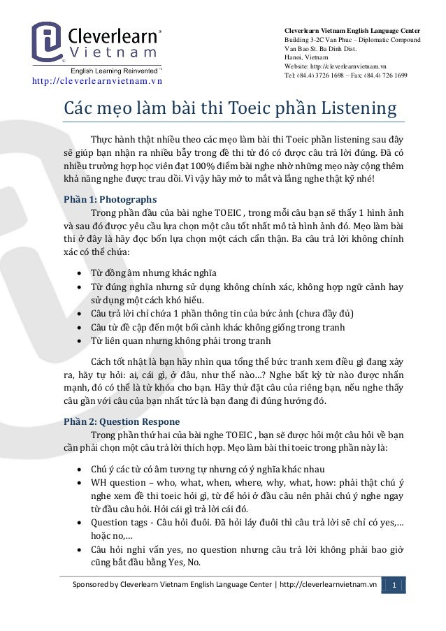 http: //cleverlearnvietnam.vn  Sponsored by Cleverlearn Vietnam English Language Center | http://cleverlearnvietnam.vn 1  ...