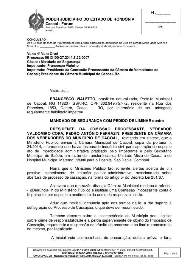 PODER JUDICIÁRIO DO ESTADO DE RONDÔNIA  Cacoal - Fórum  Rua dos Pioneiros, 2425, Centro, 76.963-726  e-mail:  Fl.______  _...