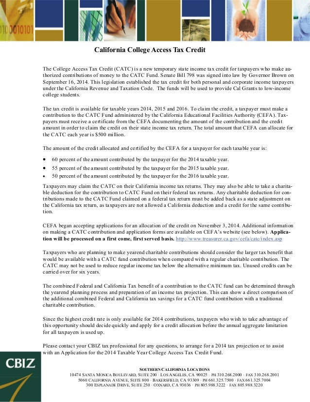California College Access Tax Credit