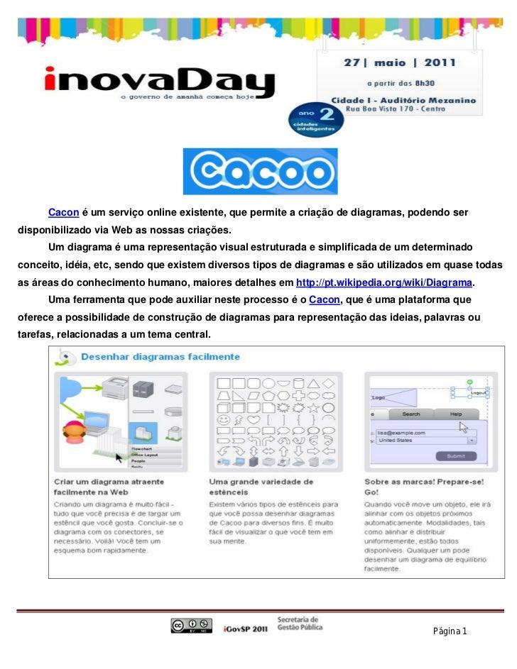 Cacon é um serviço online existente, que permite a criação de diagramas, podendo serdisponibilizado via Web as nossas cria...