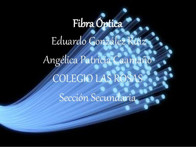 Fibra Óptica Eduardo González Ruiz Angélica Patricia Caamaño COLEGIO LAS ROSAS Sección Secundaria