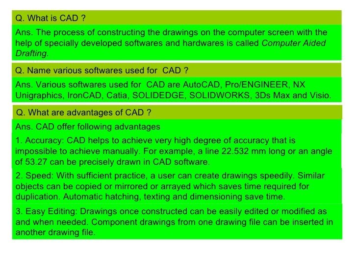 Q. What is CAD ?Ans. The process of constructing the drawings on the computer screen with thehelp of specially developed s...