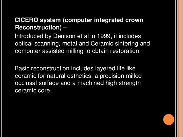 RESTORATIVE MATERIALS FOR CAD/CAM CAD/CAM systems based on machining of presintered alumina or zirconia blocks in combinat...