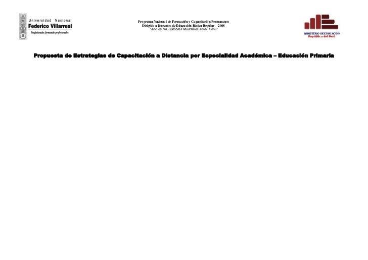 Programa Nacional de Formación y Capacitación Permanente                                     Dirigido a Docentes de Educac...