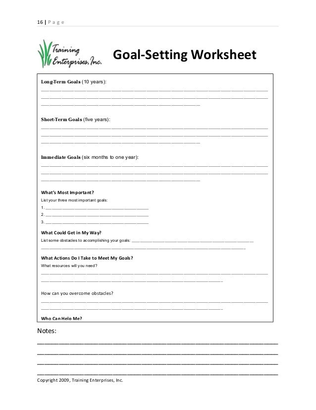 Goal Setting And Planning Handout