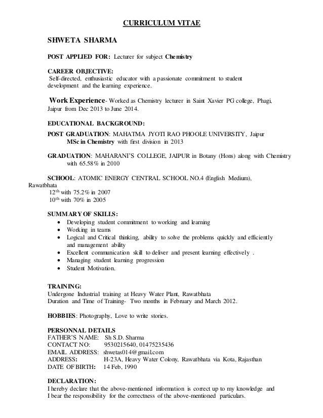 It Lecturer Resume] Lecturer Resume Samples Sample Resume For ...