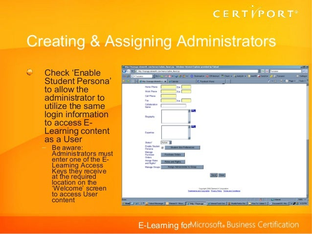 E-Learning for Microsoft Business Certification_TestingCenters