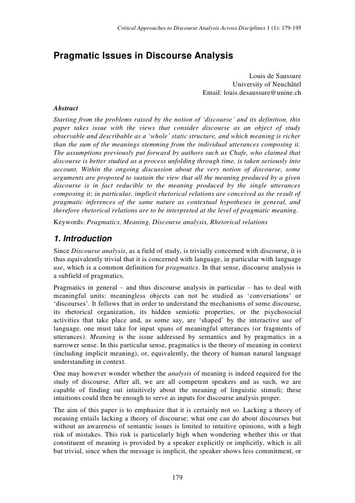 Critical Approaches to Discourse Analysis Across Disciplines 1 (1): 179-195    Pragmatic Issues in Discourse Analysis     ...