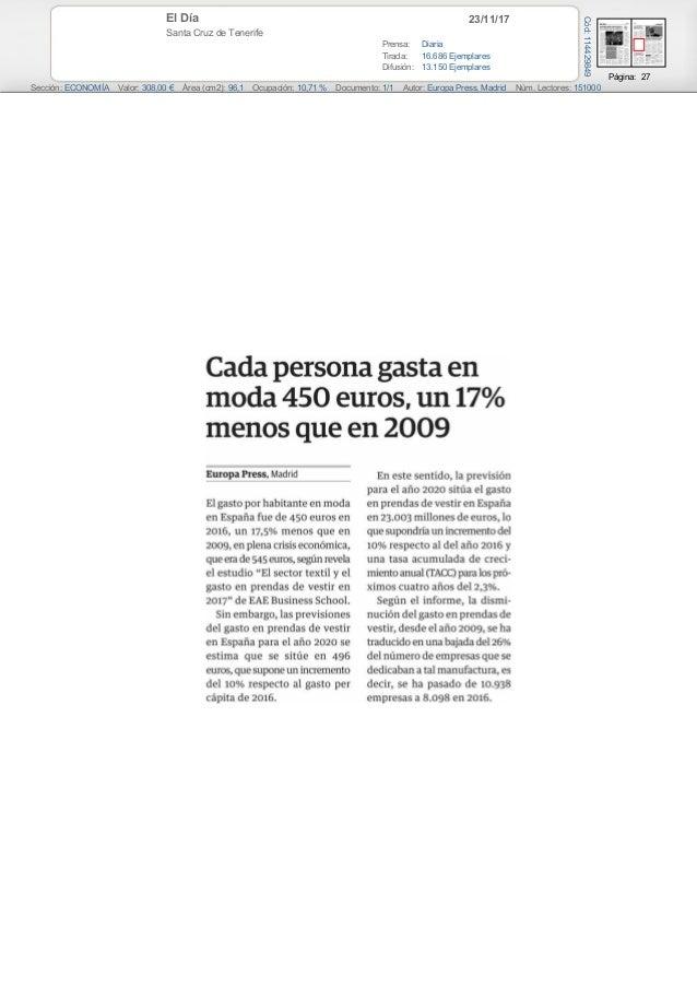 23/11/17El Día Santa Cruz de Tenerife Prensa: Diaria Tirada: 16.686 Ejemplares Difusión: 13.150 Ejemplares Página: 27 Secc...