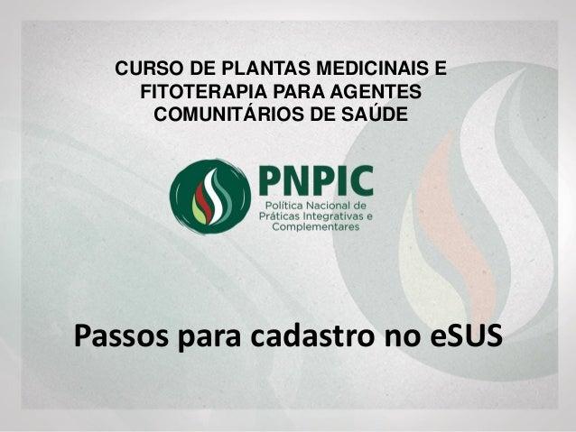 Passos para cadastro no eSUS CURSO DE PLANTAS MEDICINAIS E FITOTERAPIA PARA AGENTES COMUNITÁRIOS DE SAÚDE