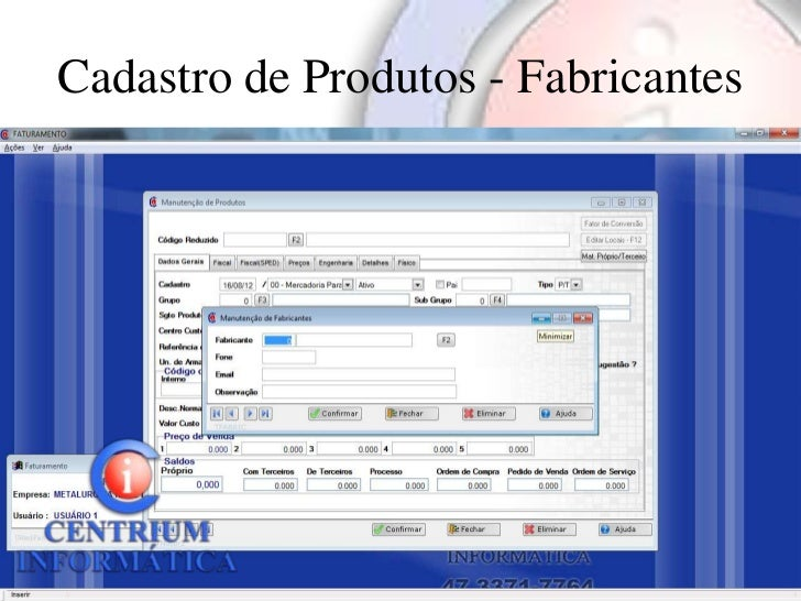 Cadastro de Produtos - Fabricantes