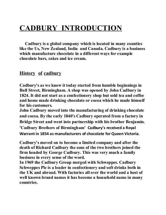cadbury assignment 2 Cadbury marketing strategy assignment-51424 develop organizational marketing objectives cadbury india limited questam table of contents 1 profile of cadbury.