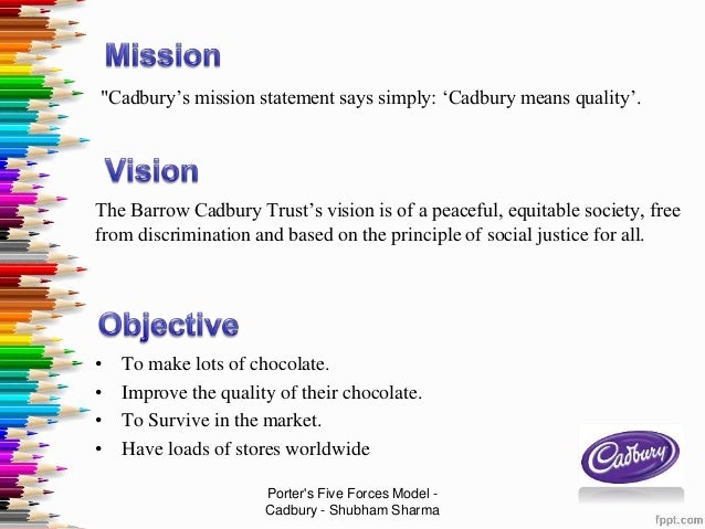 mission and vision of cadbury Hello come and get a real taste of cadbury who we are, why we're different  and what we're doing to achieve our vision of being not just the biggest but also.