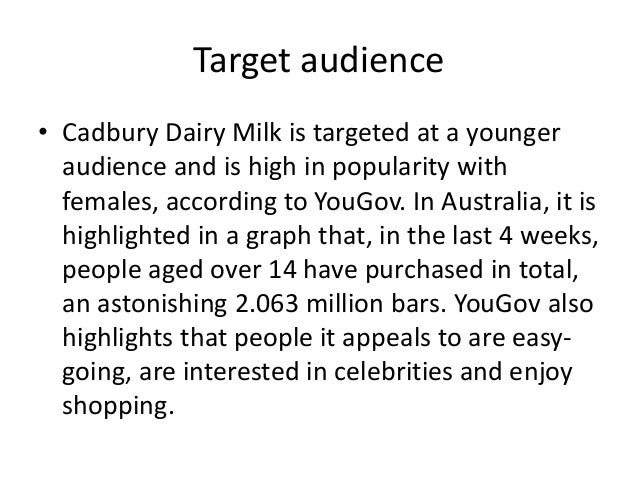 target market of cadbury Depends on the analysis of target market companies react when they recognize benefits in some certain  all kraft and cadbury merger analysis essays and term.
