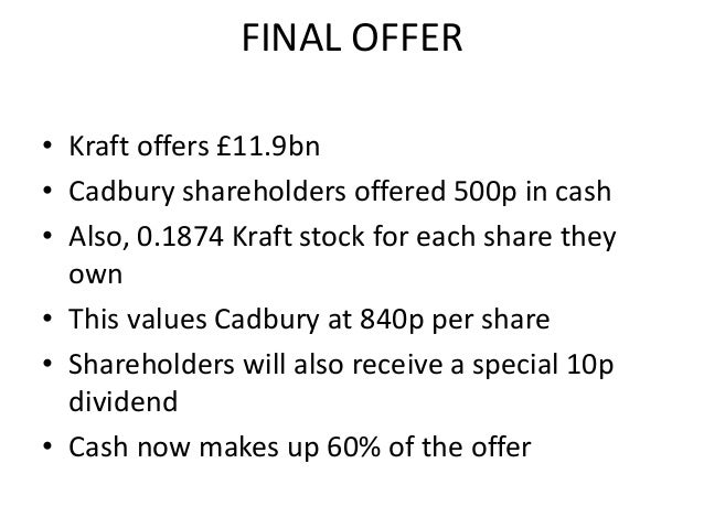 merger of cadburys and kraft The merger of kraft foods and cadbury in 2010 shows how answering the right  questions promptly can help ensure a successful integration.
