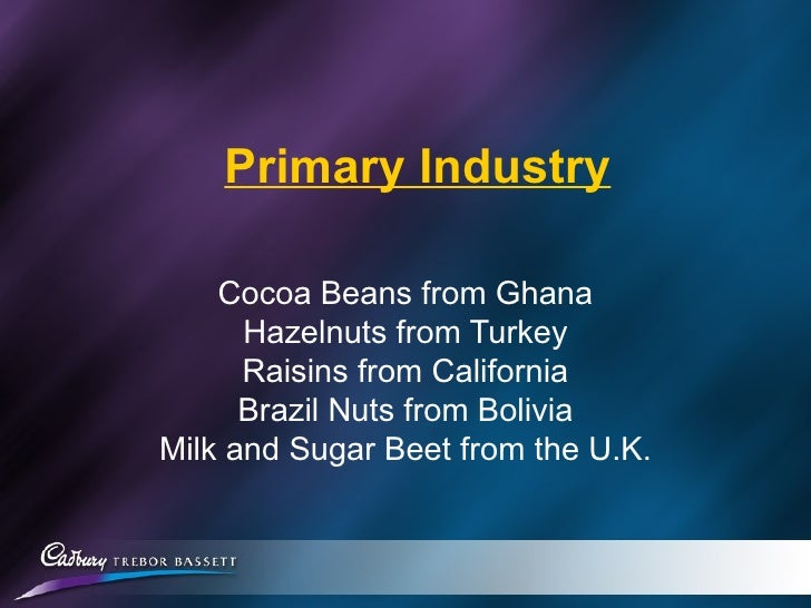 Primary Industry Cocoa Beans from Ghana Hazelnuts from Turkey Raisins from California Brazil Nuts from Bolivia Milk and Su...