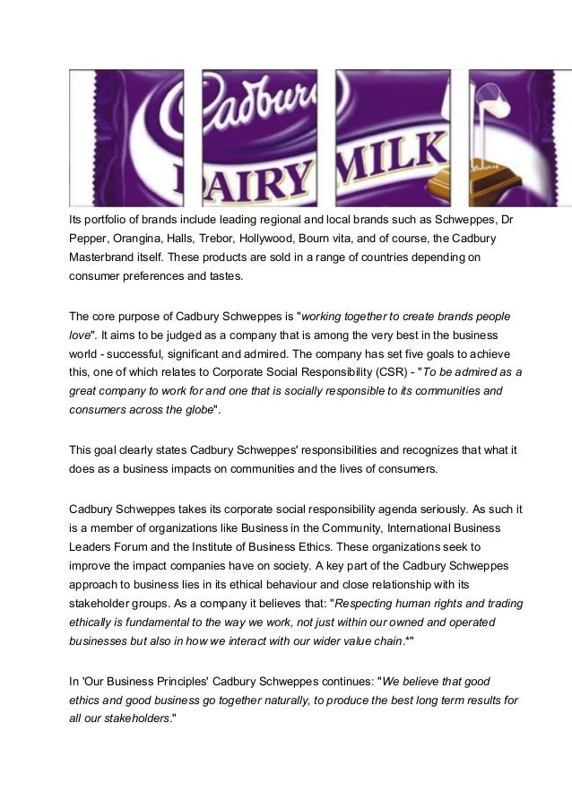 csr on cadbury As its 2007/08 corporate responsibility review launches, cadbury wins green award for best green packaging for eco-eggs and is shortlisted for icaew corporate responsibility award at the national business awards - november 21, 2008 - cadbury, a leading global confectionery company, has been awarded.