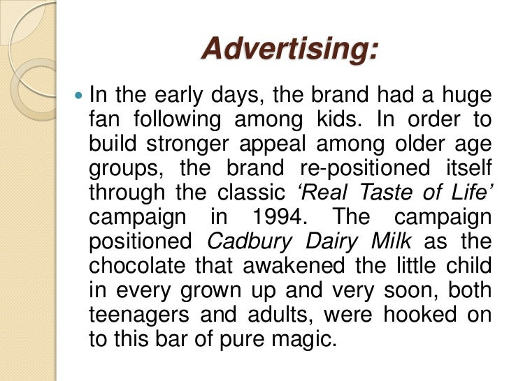 the pure taste of cadbury dairy milk marketing essay View essay - cadbury india is a fully owned subsidy of kraft foods inc from marketing mkt/435  some of the key brands it offers in india are cadbury dairy milk.