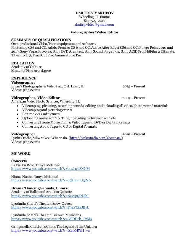 resume for videographer resume ideas