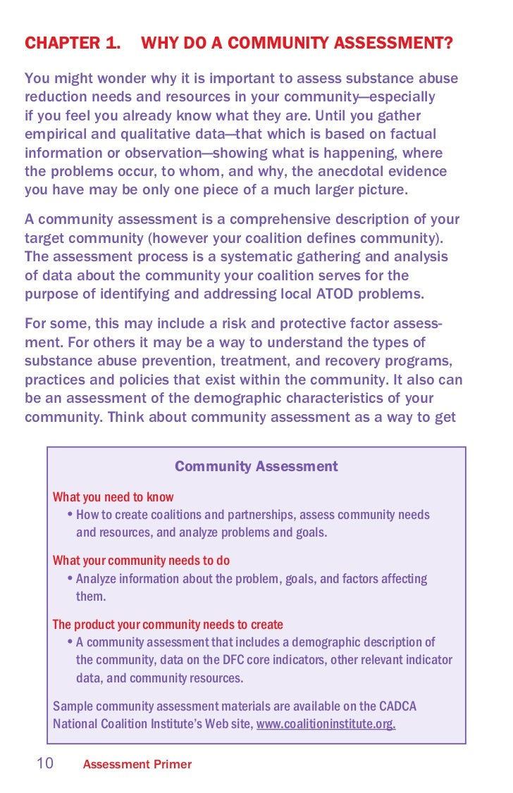 an assessment of substance abuse prevention community