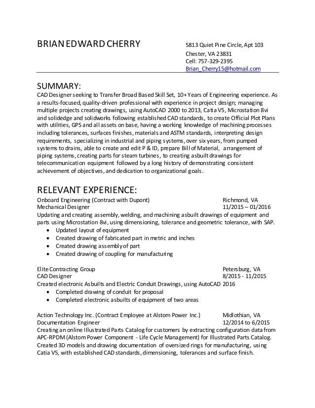 High Quality Resume Sample For Cad Operator Resumes Pinterest Cover Letter . Cad Resume