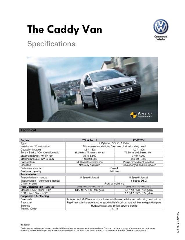 Caddy Van specifications - Volkswagen Australia