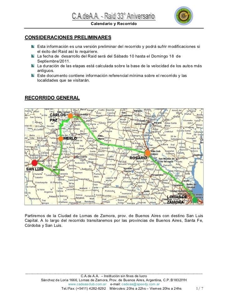 Calendario y RecorridoCONSIDERACIONES PRELIMINARES      Esta información es una versión preliminar del recorrido y podrá s...