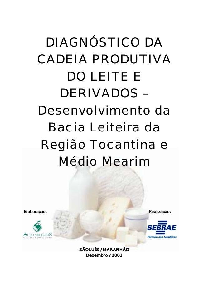 DIAGNÓSTICO DA CADEIA PRODUTIVA DO LEITE E DERIVADOS – Desenvolvimento da Bacia Leiteira da Região Tocantina e Médio Meari...