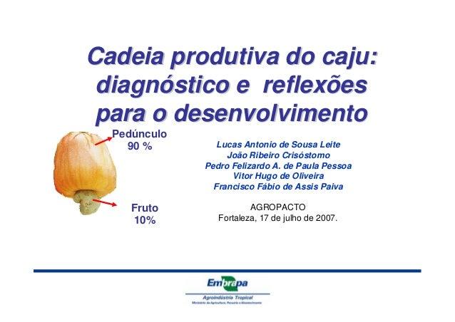 Cadeia produtiva do caju:  diagnóstico e reflexões  para o desenvolvimento  Pedúnculo  90 %  Fruto  10%  Lucas Antonio de ...