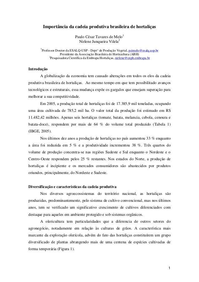 1 Importância da cadeia produtiva brasileira de hortaliças Paulo César Tavares de Melo1 Nirlene Junqueira Vilela2 1 Profes...